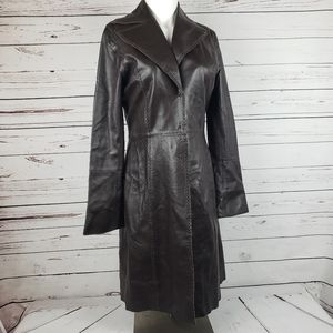 Guess collection brown leather coat sz. M